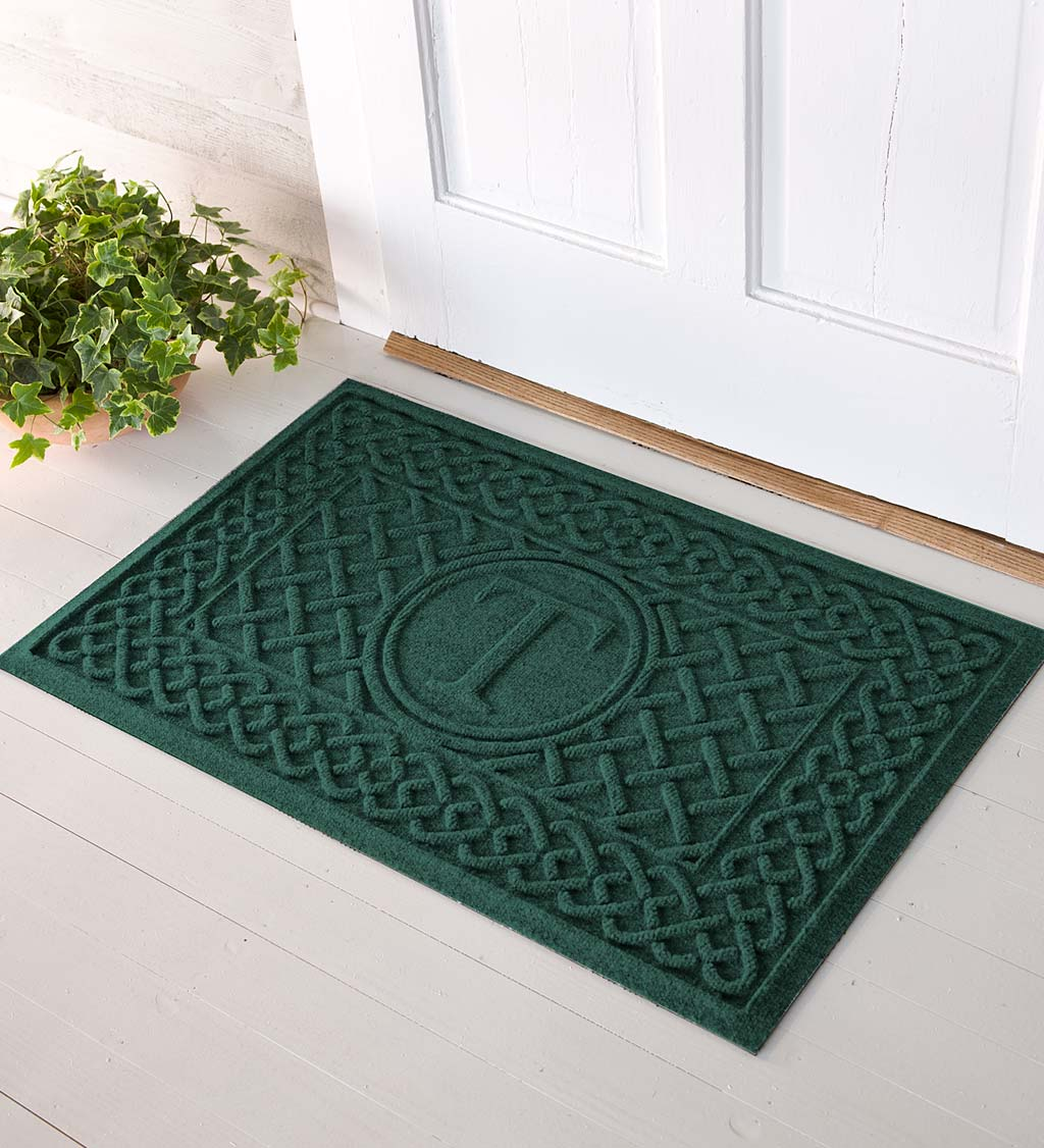 Waterhog Cable Weave Doormat with Single Initial, 2' x 3' - Green