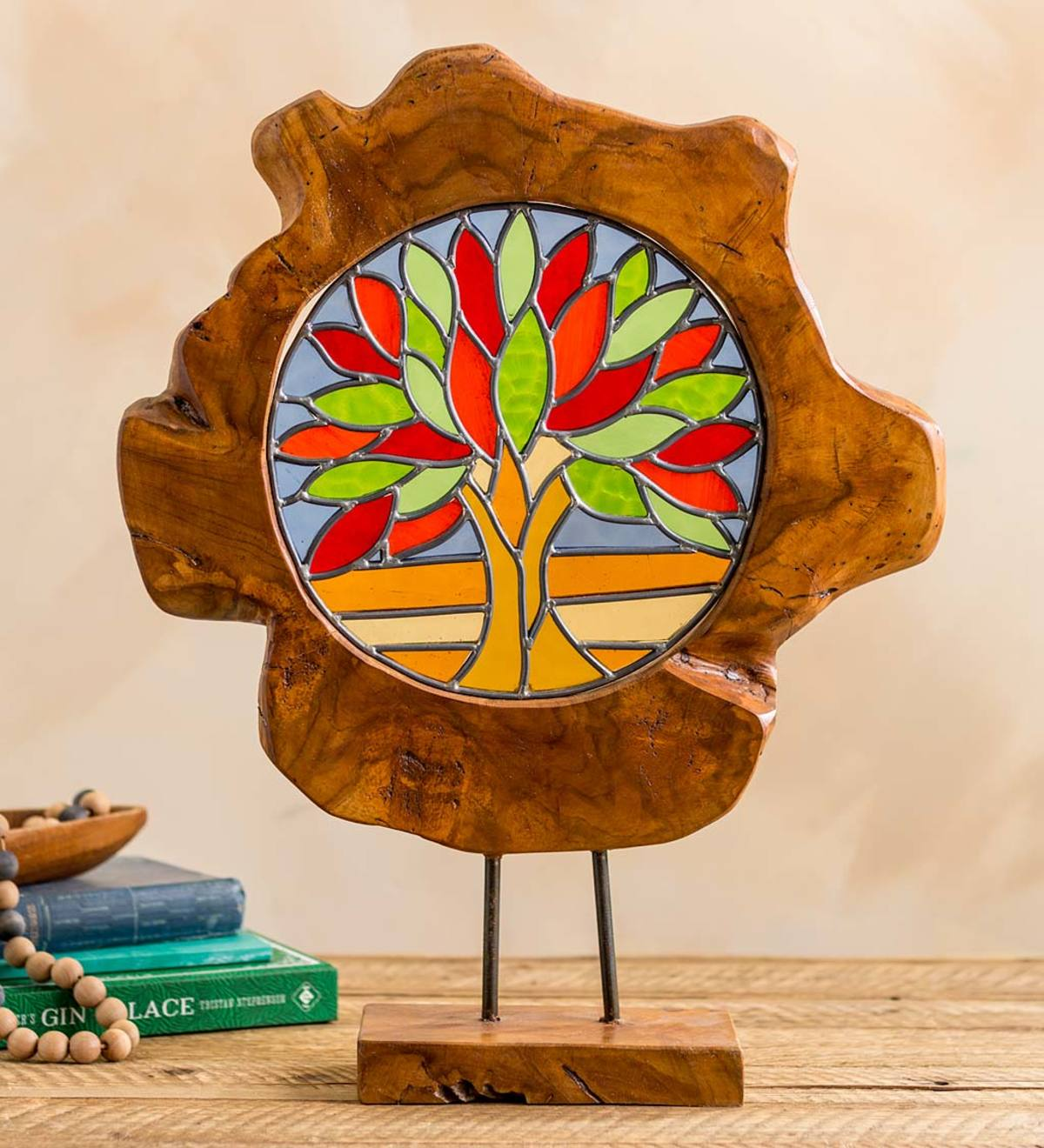 Stained Glass Tree of Life In Natural Teak Frame