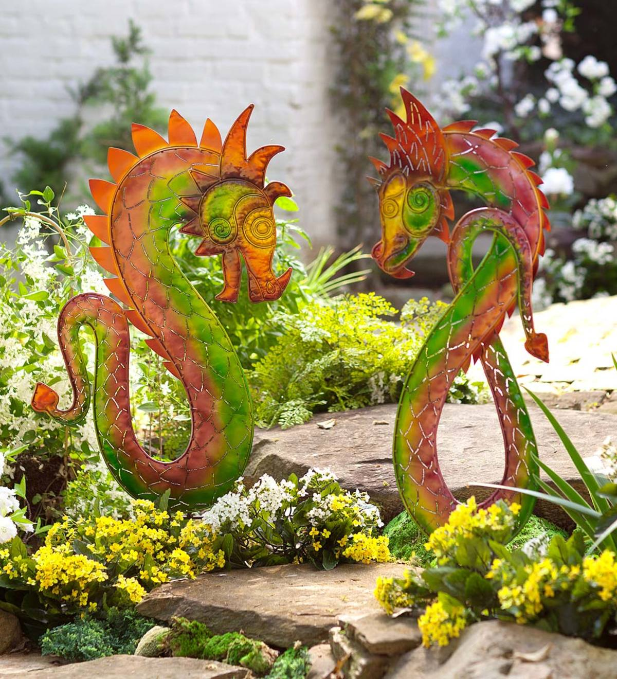 Colorful Metal Dragon Garden Stakes, Set of 2