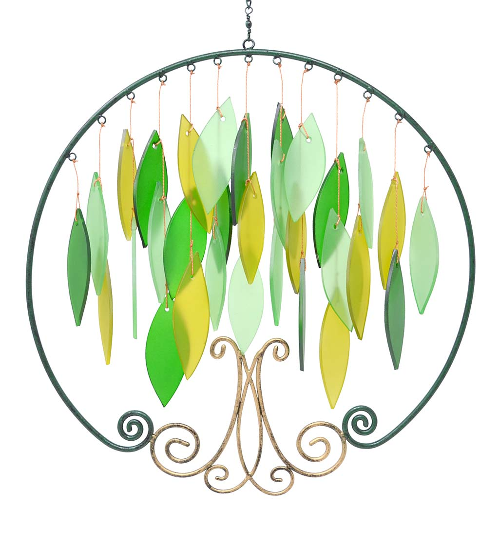 Handcrafted Metal and Glass Tree of Life Wind Chime