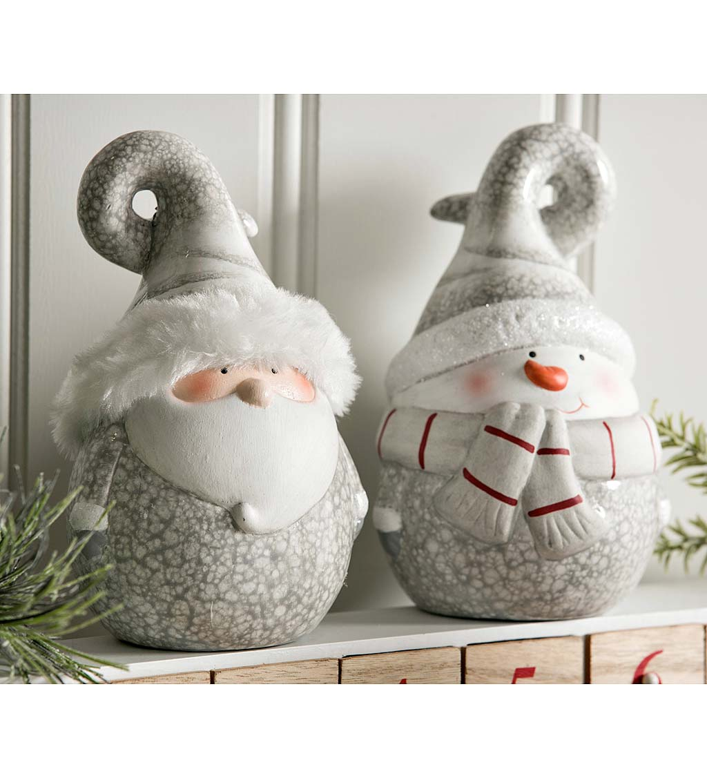 Snowflake Glazed Santa And Snowman With Fur Trimmed Hat Set Of 2 Wind And Weather