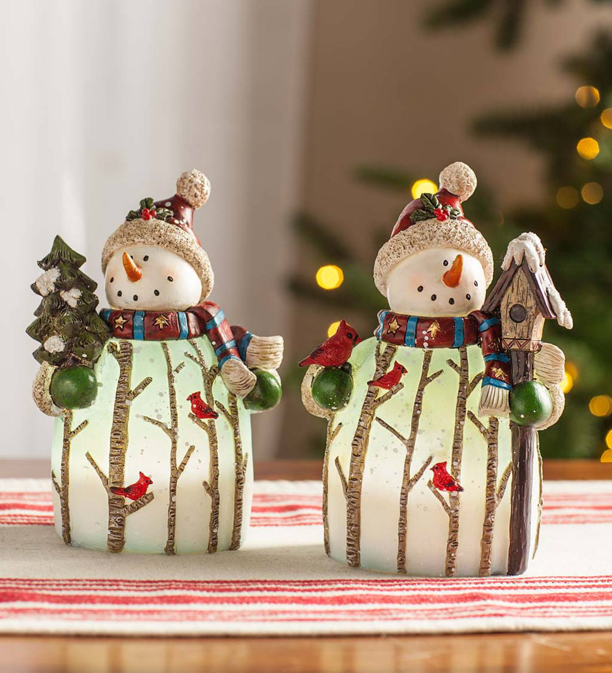 Lighted Snowman Statues, Set of 2