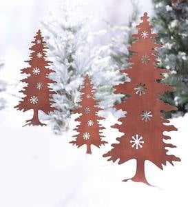 Rust-Finished Silhouette Stakes, Set of 3 - Trees