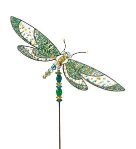 Beaded Dragonfly Garden Stake - Green