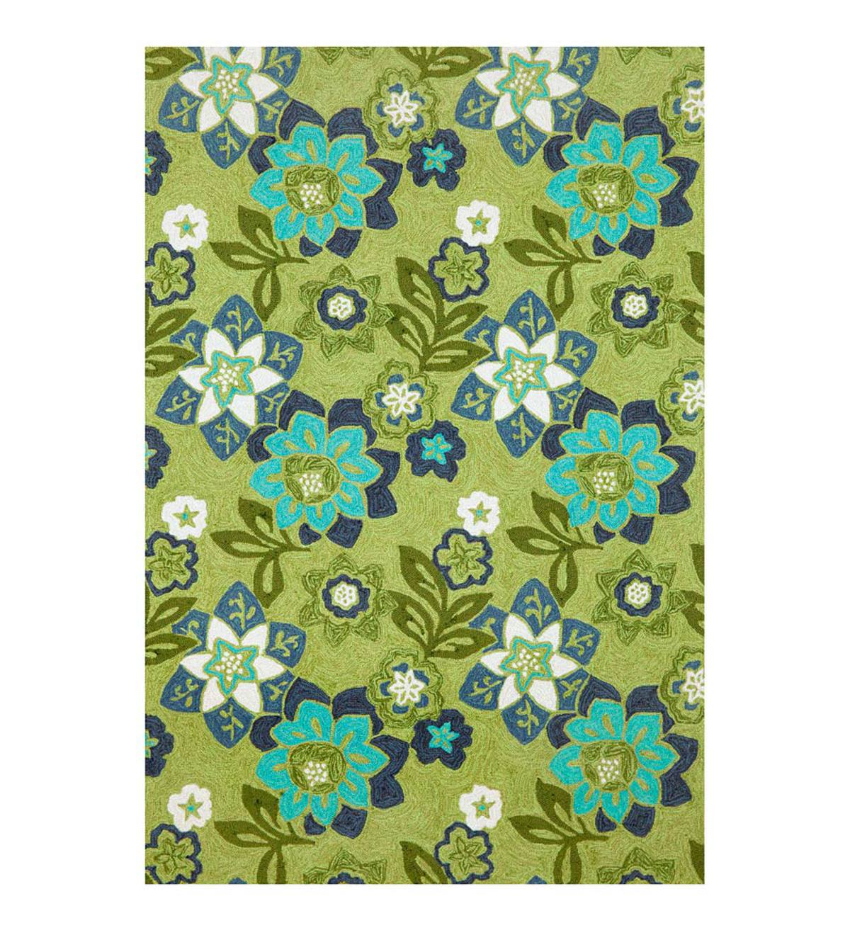 Blue and Green Floral Accent Rug, 7'6