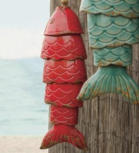 Colored Porcelain Koi Fish Wind Chime - Red
