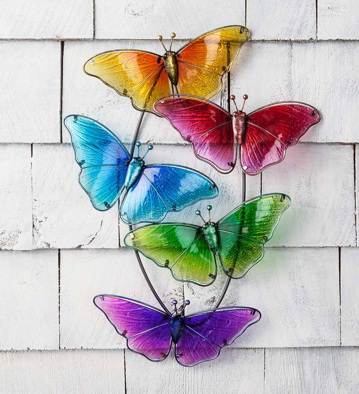 Metal and Glass Butterfly Wall Art