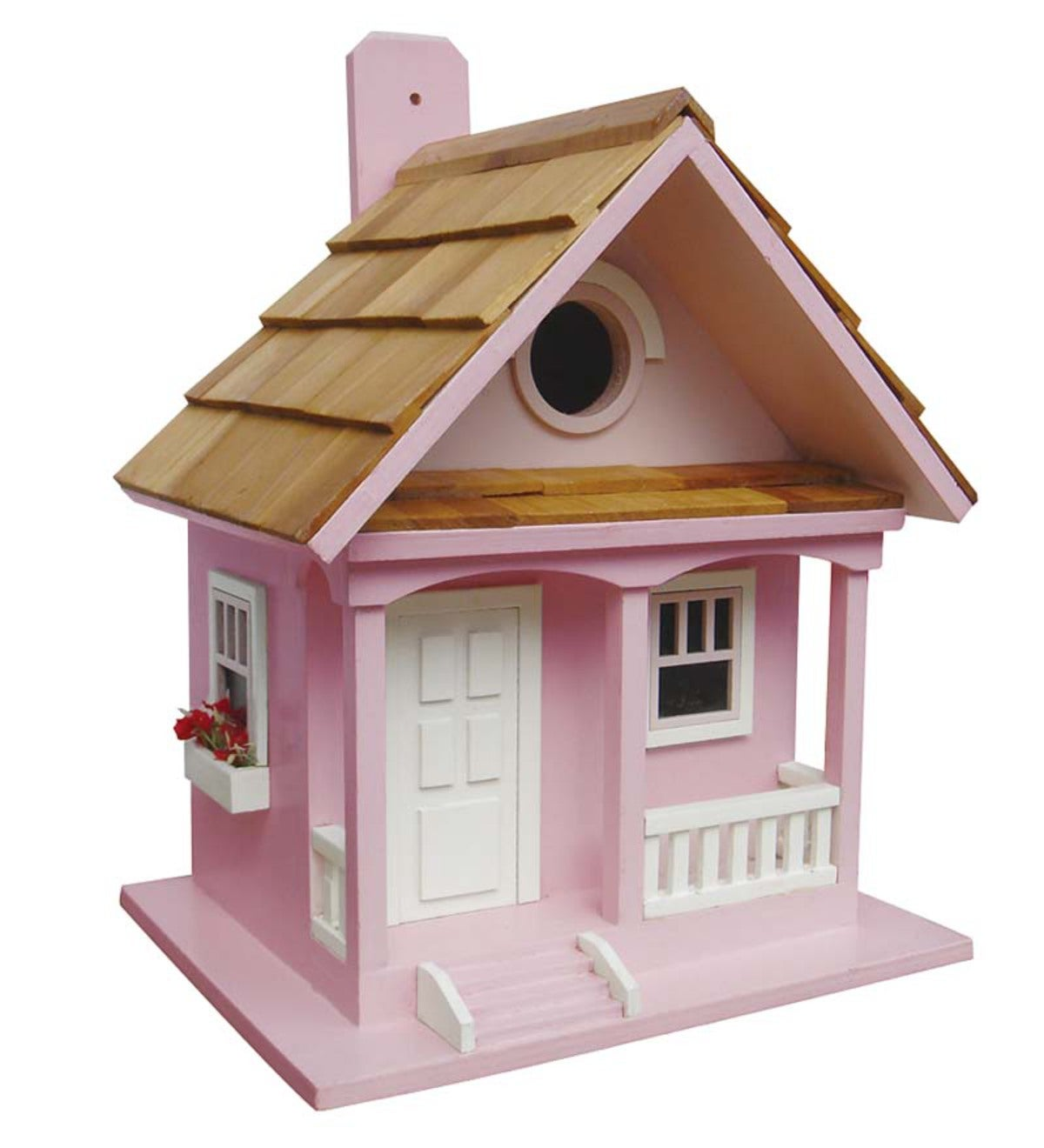 Wood Cottage Birdhouse with Flowerboxes - Cotton Candy Pink