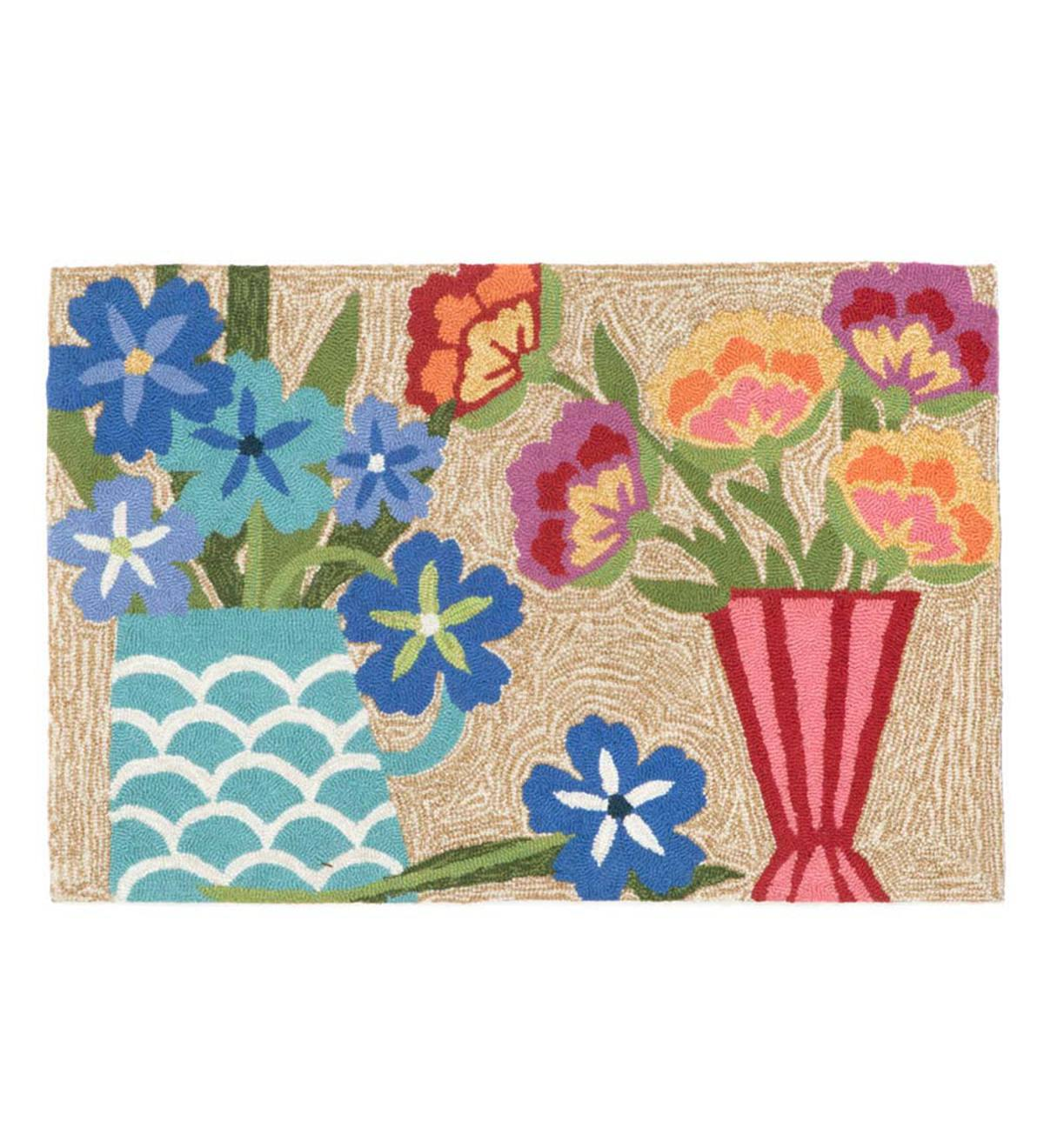 Flowers Still Life Rug, 20&quote;W x 30&quote;L
