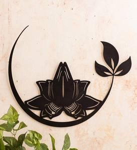 Metal Praying Hands Lotus Silhouette Wall Art