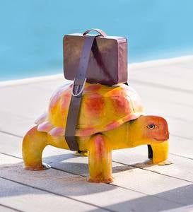 Colorful Handcrafted Traveling Turtle with Suitcase Metal Indoor/Outdoor Sculpture