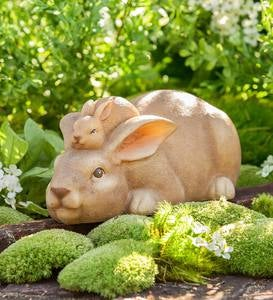 Mama and Baby Bunny Sculpture