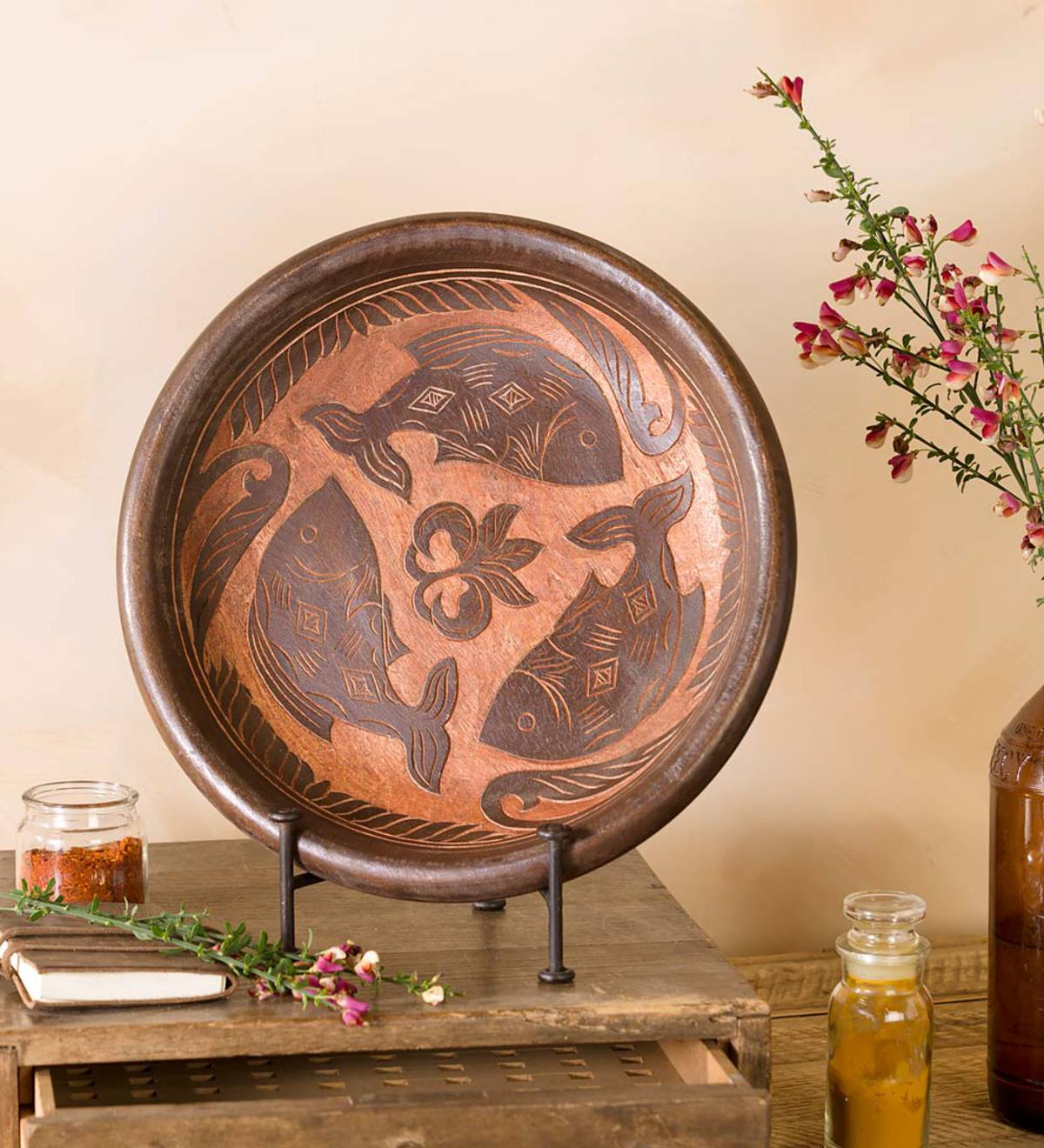Decorative Wooden Plate with Fish Motif