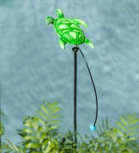Metal Sea Life Balancer Garden Stake - Blue Manta Ray