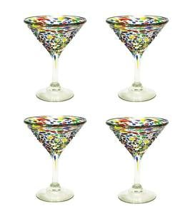Handcrafted Recycled Glass Confetti Martini Glasses, Set of 4