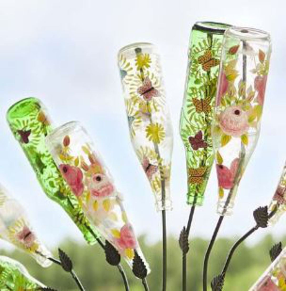 Hand-Painted Glass Bottles, Set of 12