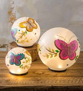 Lighted Frosted Glass Butterfly Globes, Set of 3