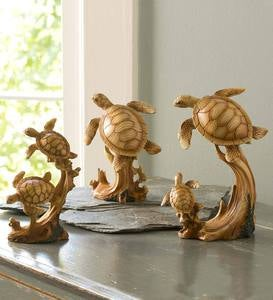 Sea Turtles with Woodgrain Finish, Set of 3