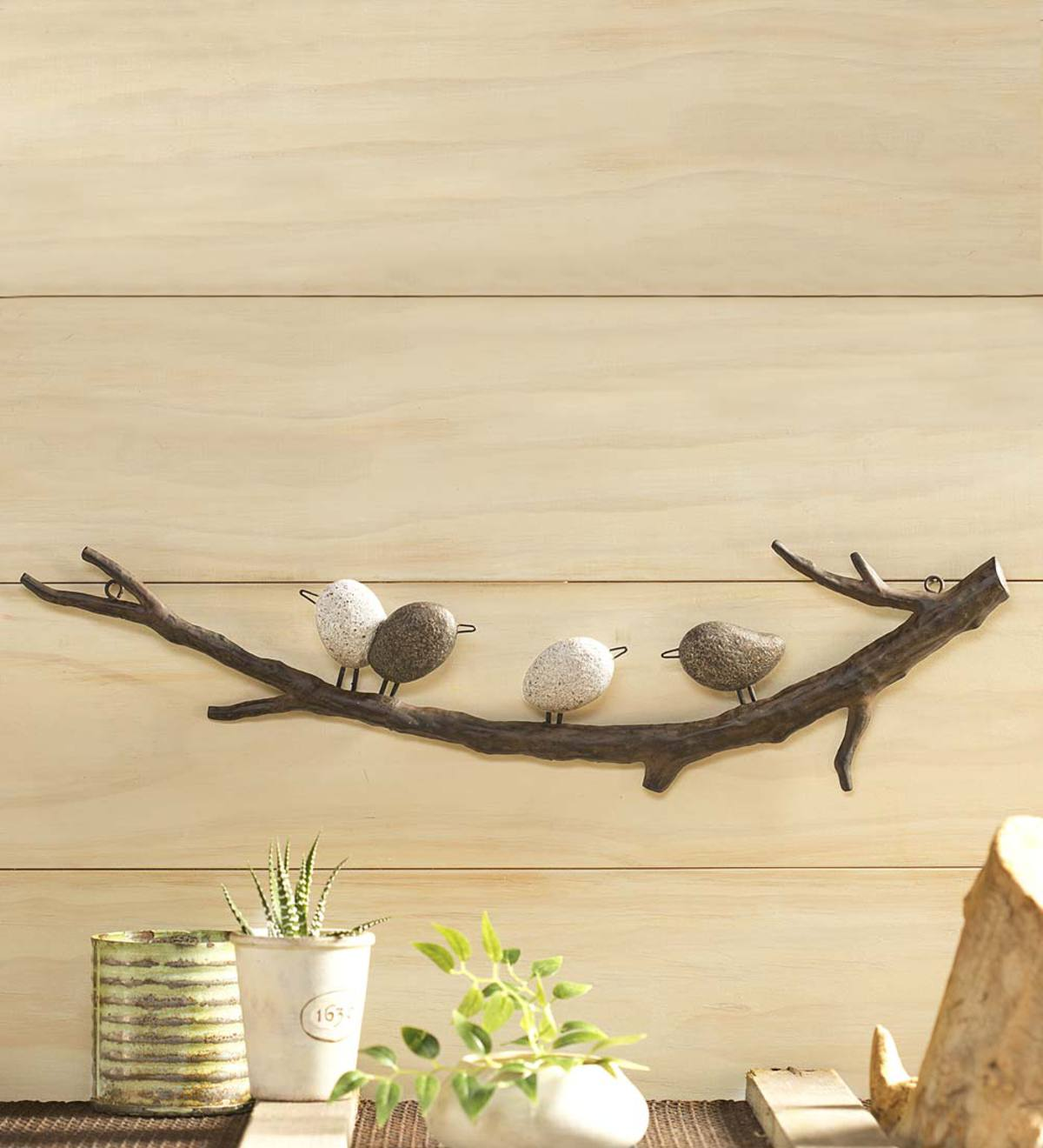 Four Faux River Rock Birds on a Metal Branch Wall Art