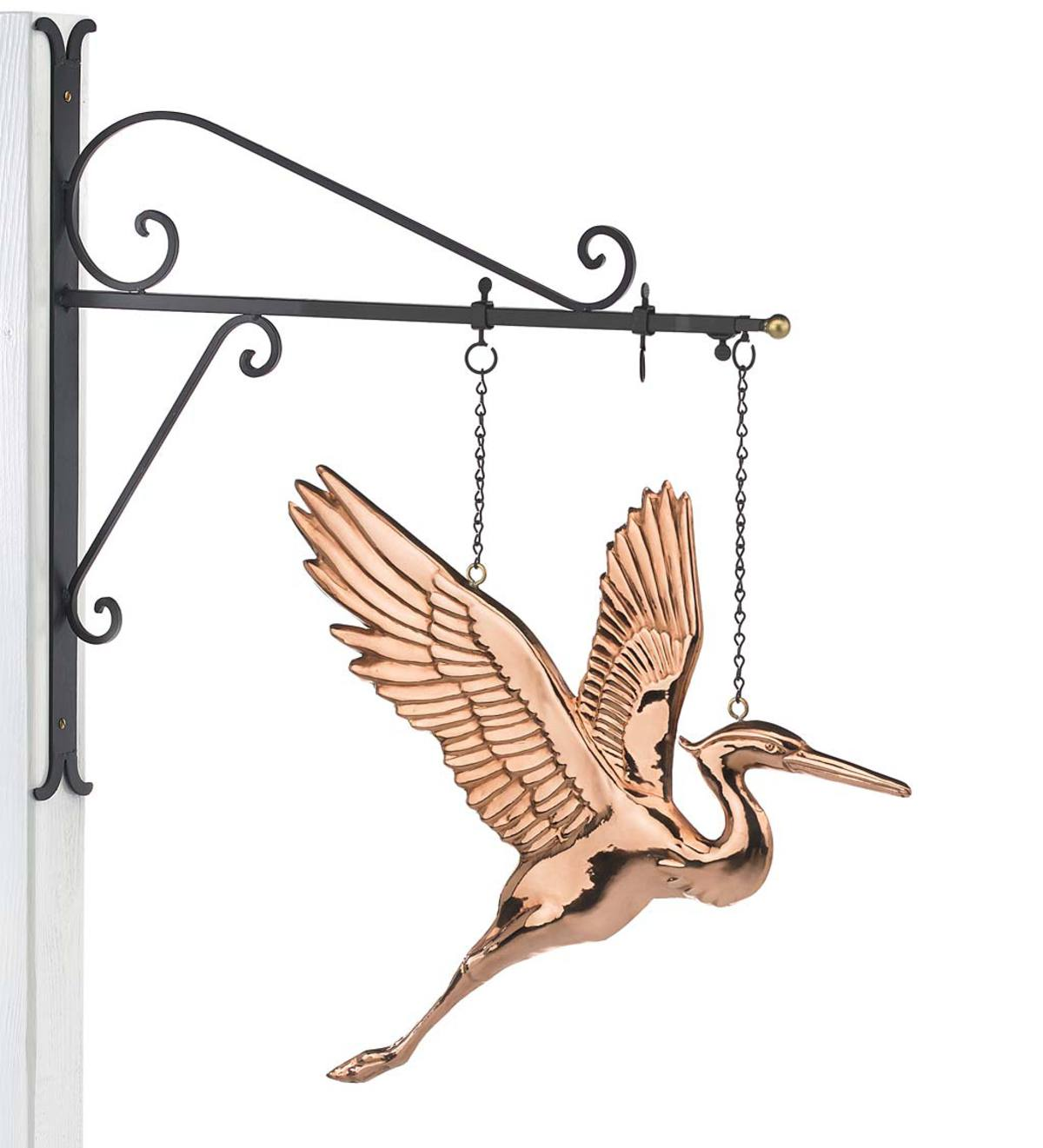 Hanging Copper Heron with Decorative Bracket