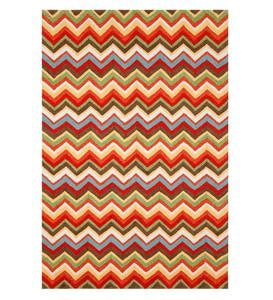ZigZag-Pattern Graphic Accent Rug