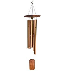 Large Memorial Wind Chime With Weatherproof Metal Compartment In Bronze And Teak Finish
