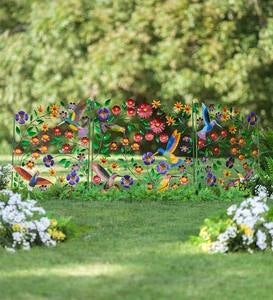 Metal 3-Panel Hummingbirds and Flowers Garden Screen