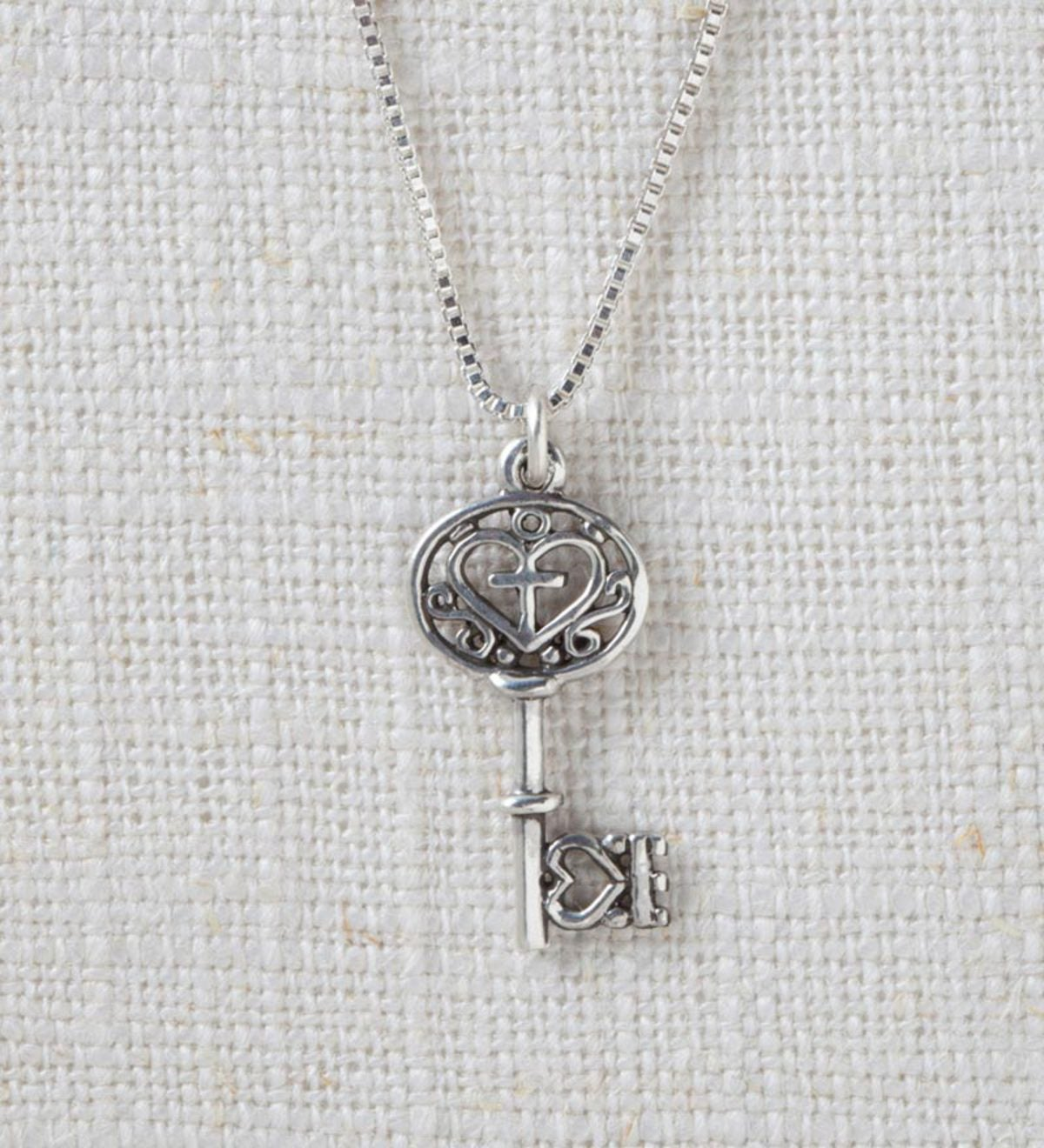 Sterling Silver Filigree Key Pendant and Small Round Point Cross Pendant - Key