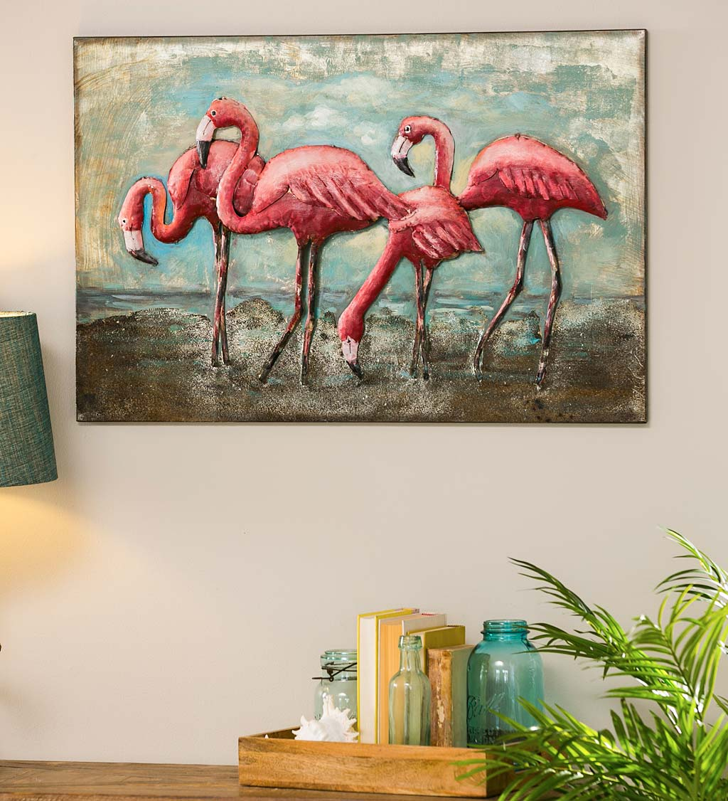 Handcrafted 3D Flamingo Metal Wall Art