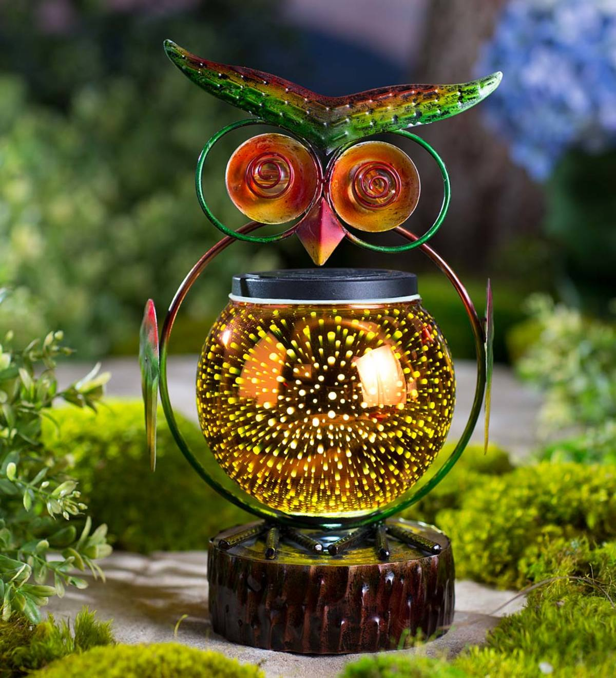 Metal Owl Sculpture with Solar 3-D Lighted Globe