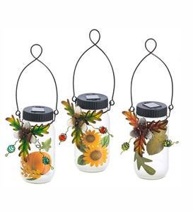 Solar Jar Lanterns with Fall Foliage, Set of 3