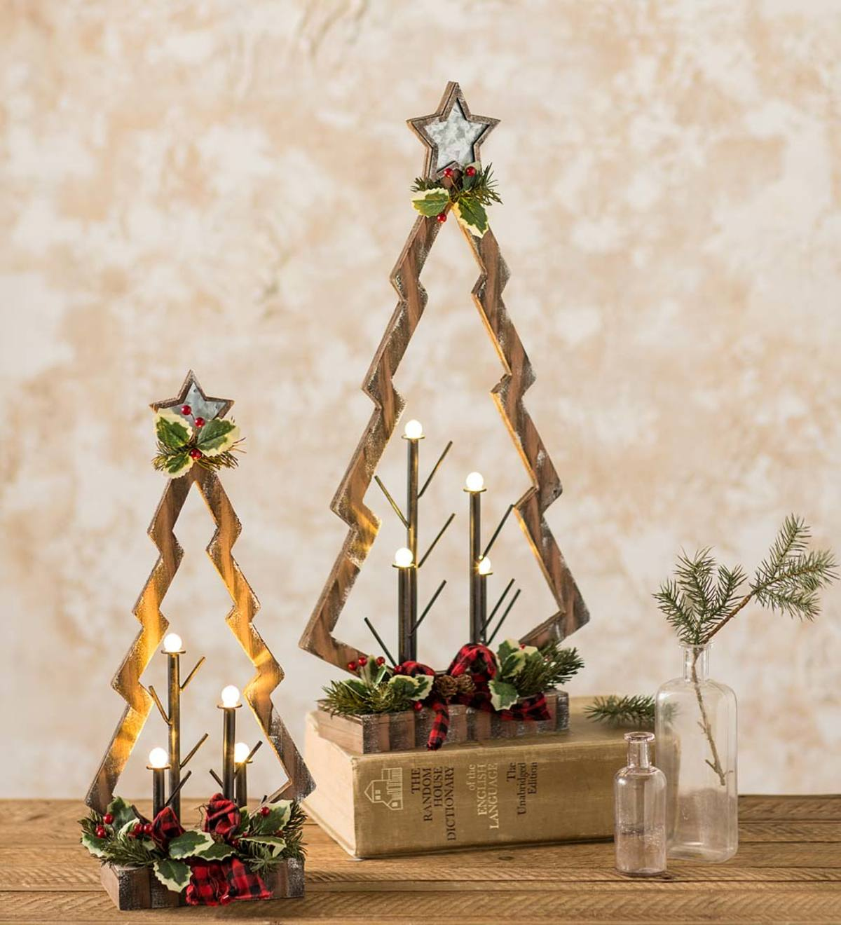 Tabletop Lighted Wooden Christmas Trees, Set of 2