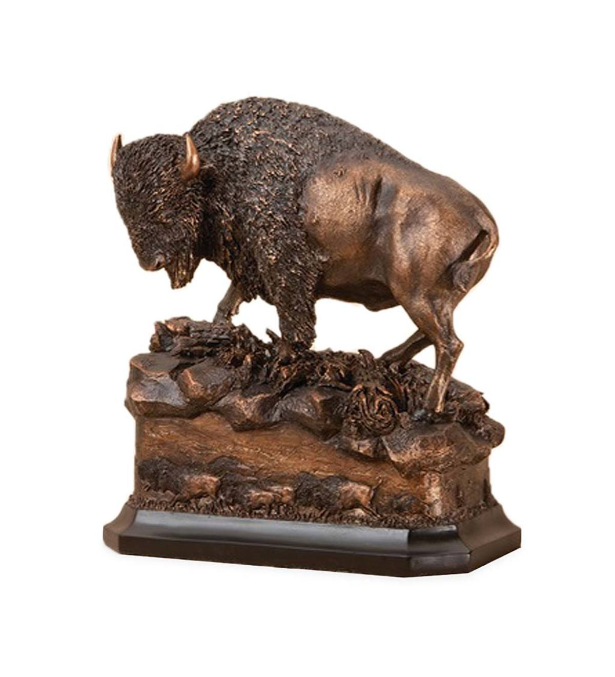 Bronze-Finish Buffalo Sculpture