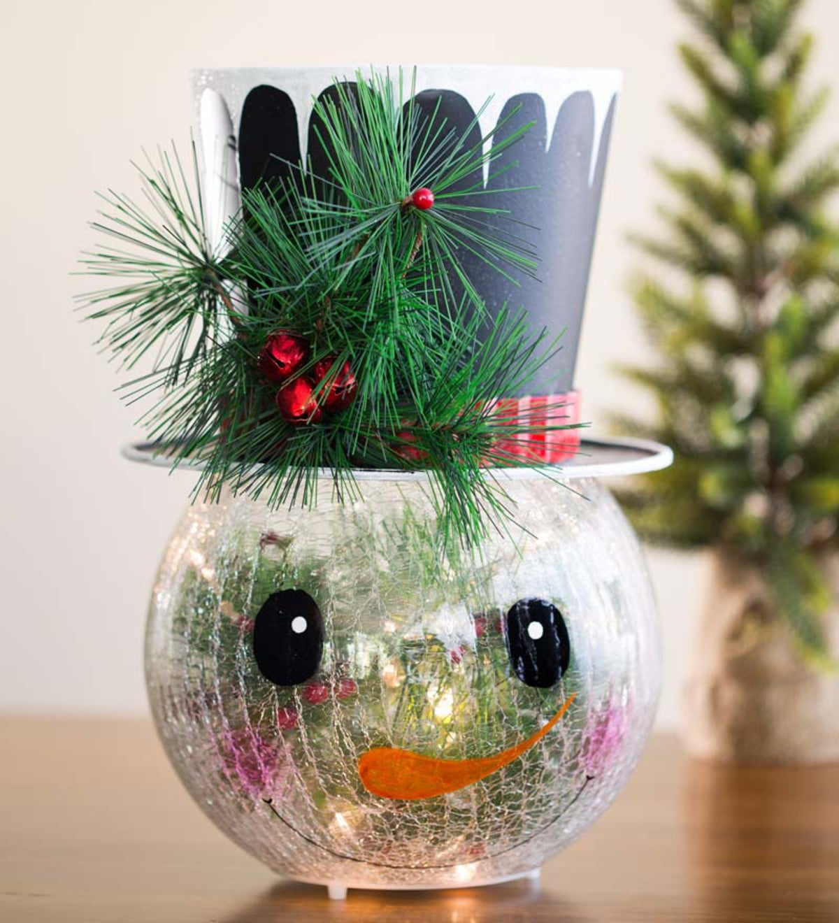 Lighted Glass Snowman Table Decoration