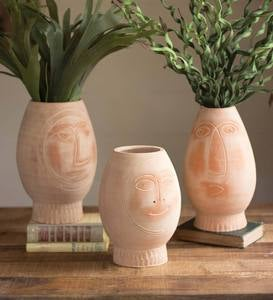 Handcrafted Clay Pots with Faces, Set of 3