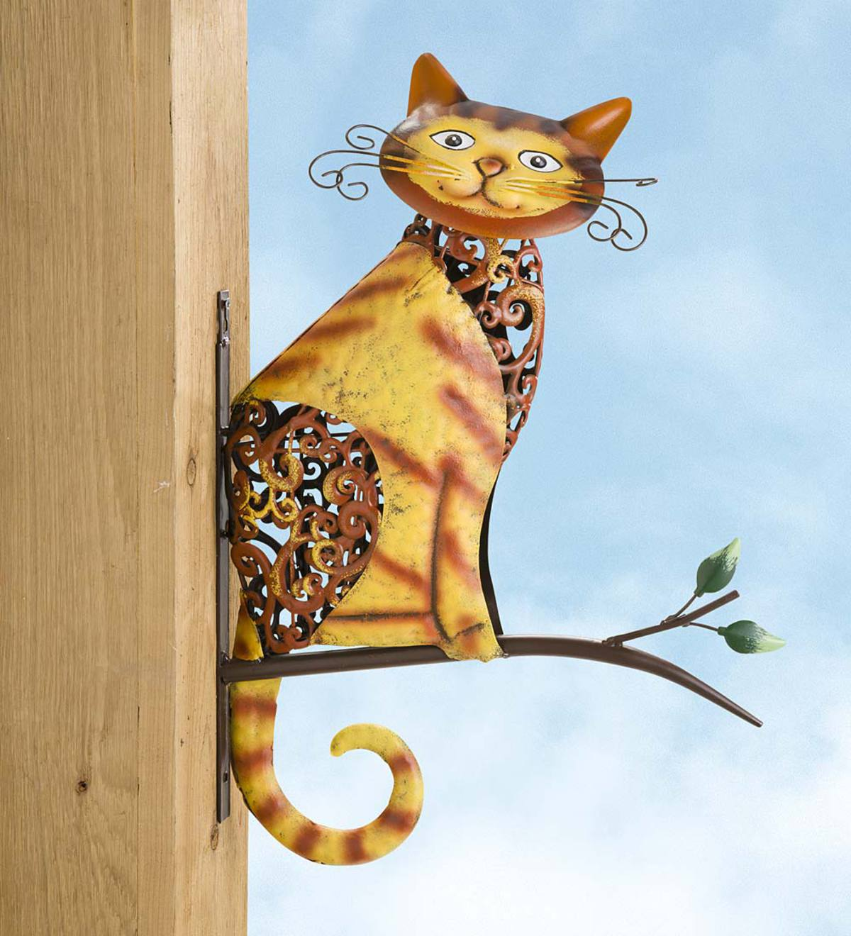 Metal Tabby Cat on a Branch Wall Art
