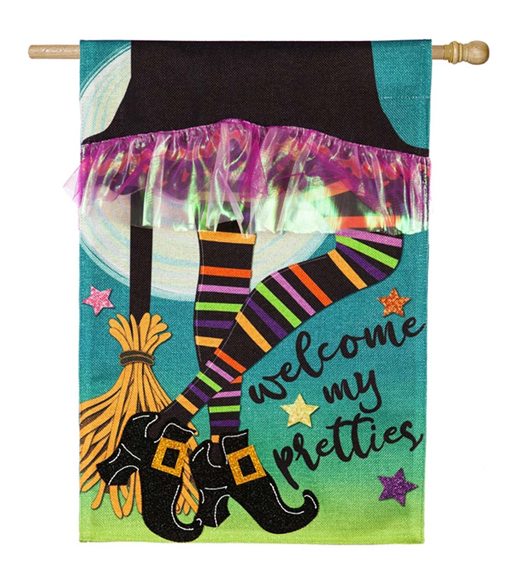 "Halloween Witch ""My Pretties"" Burlap House Flag"