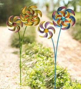Colorful Metal Dual-Pinwheel Spinner - Blue