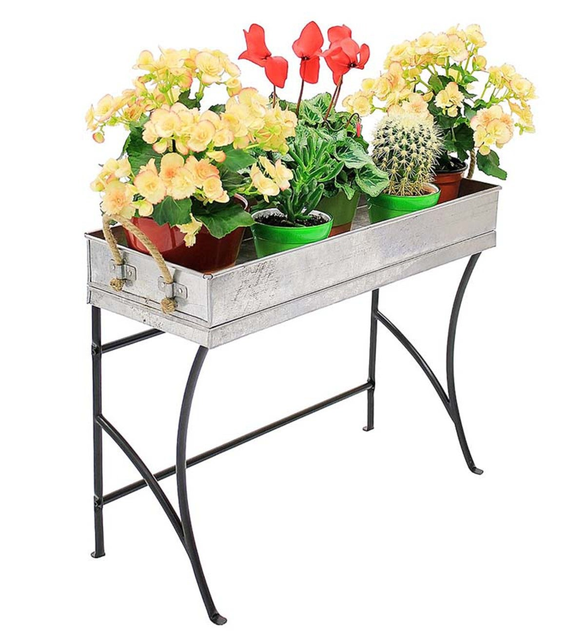 Galvanized Steel Planter with Iron Plant Stand