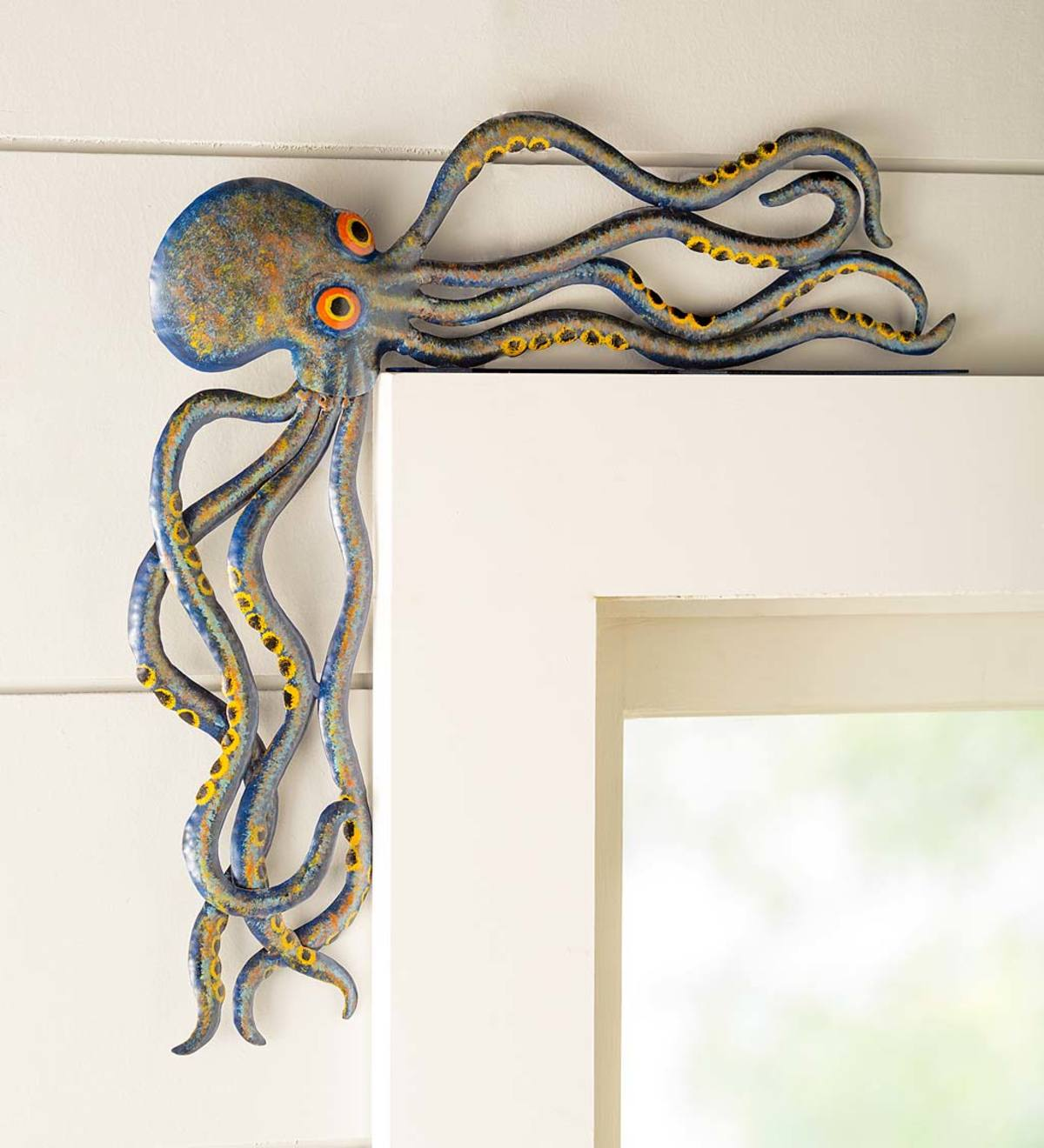 Handcrafted Reclaimed-Metal Octopus Door Crawler