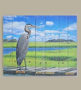 Heron on Pier Mill Wood Wall Art®