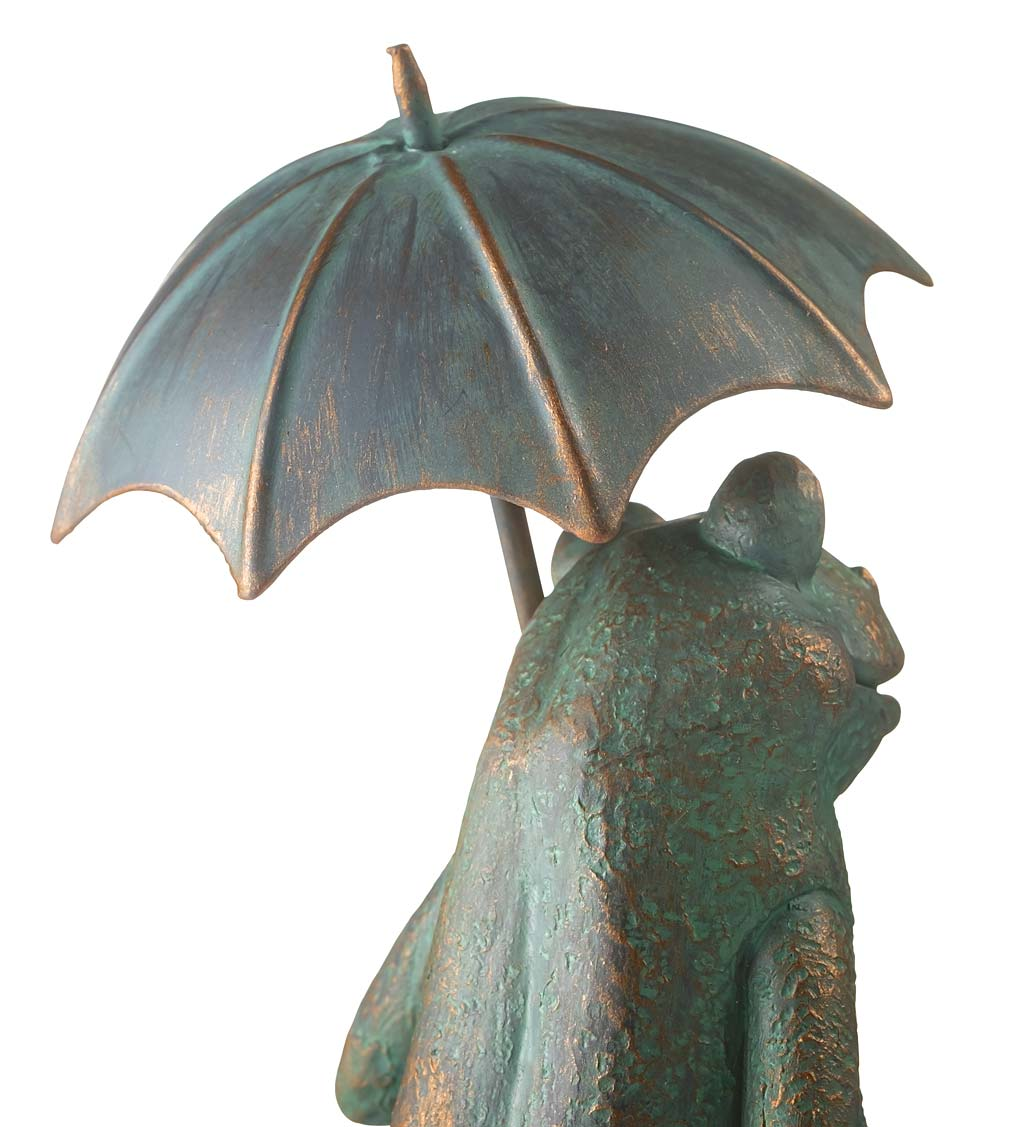 Father and Son Frogs with Umbrella with Acrylic Rain Gauge