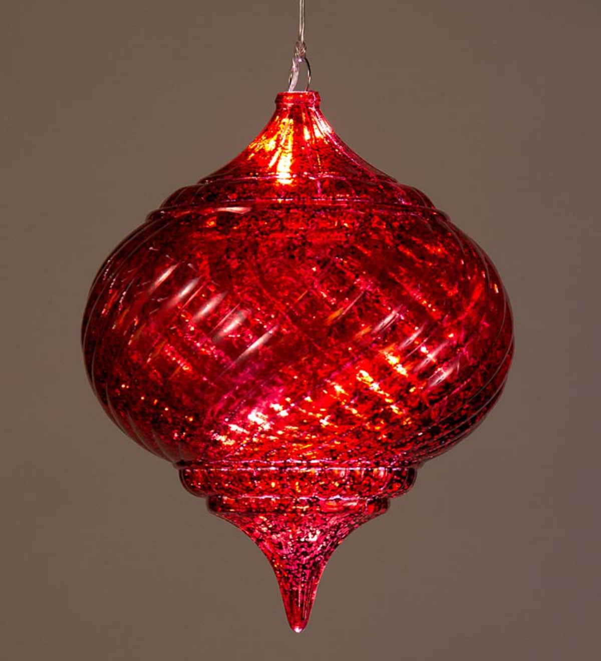 Large Outdoor Solar Color-Changing Finial Ornament - Red