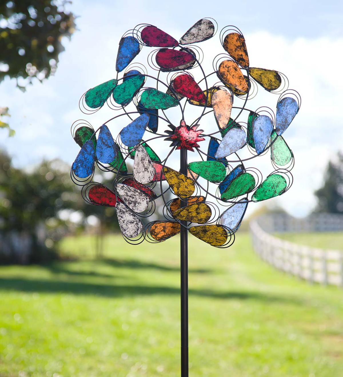Oversized Colorful Leaves Metal Wind Spinner - Multi