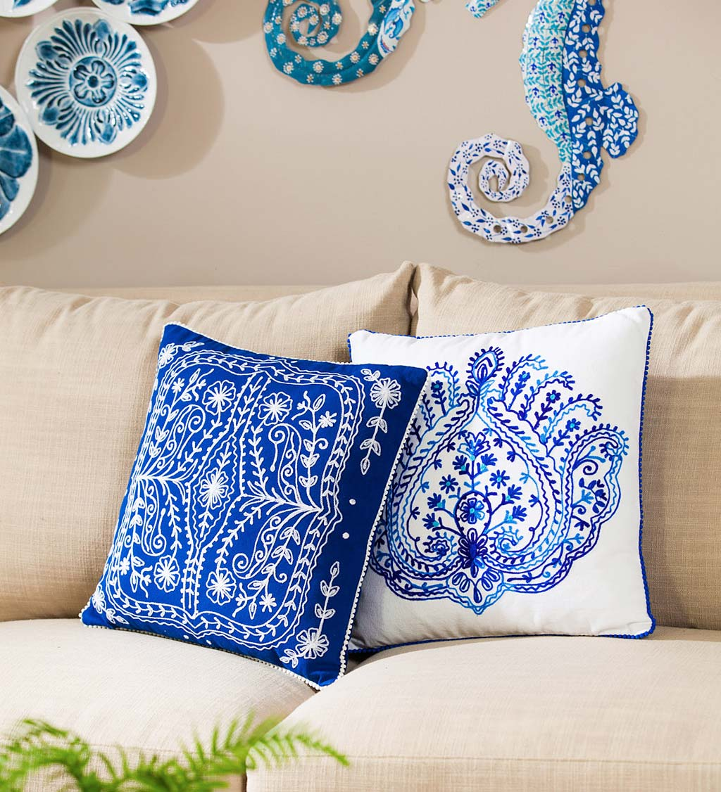 Blissful Blue Patterned Embroidered Pillow
