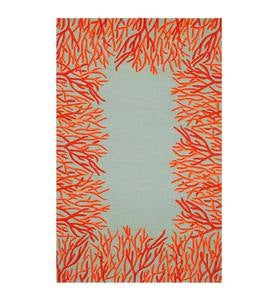 Orange Coral Border Indoor/Outdoor Rug