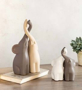 Small Ceramic Elephants with Intertwined Trunks Sculptures, Set of 4