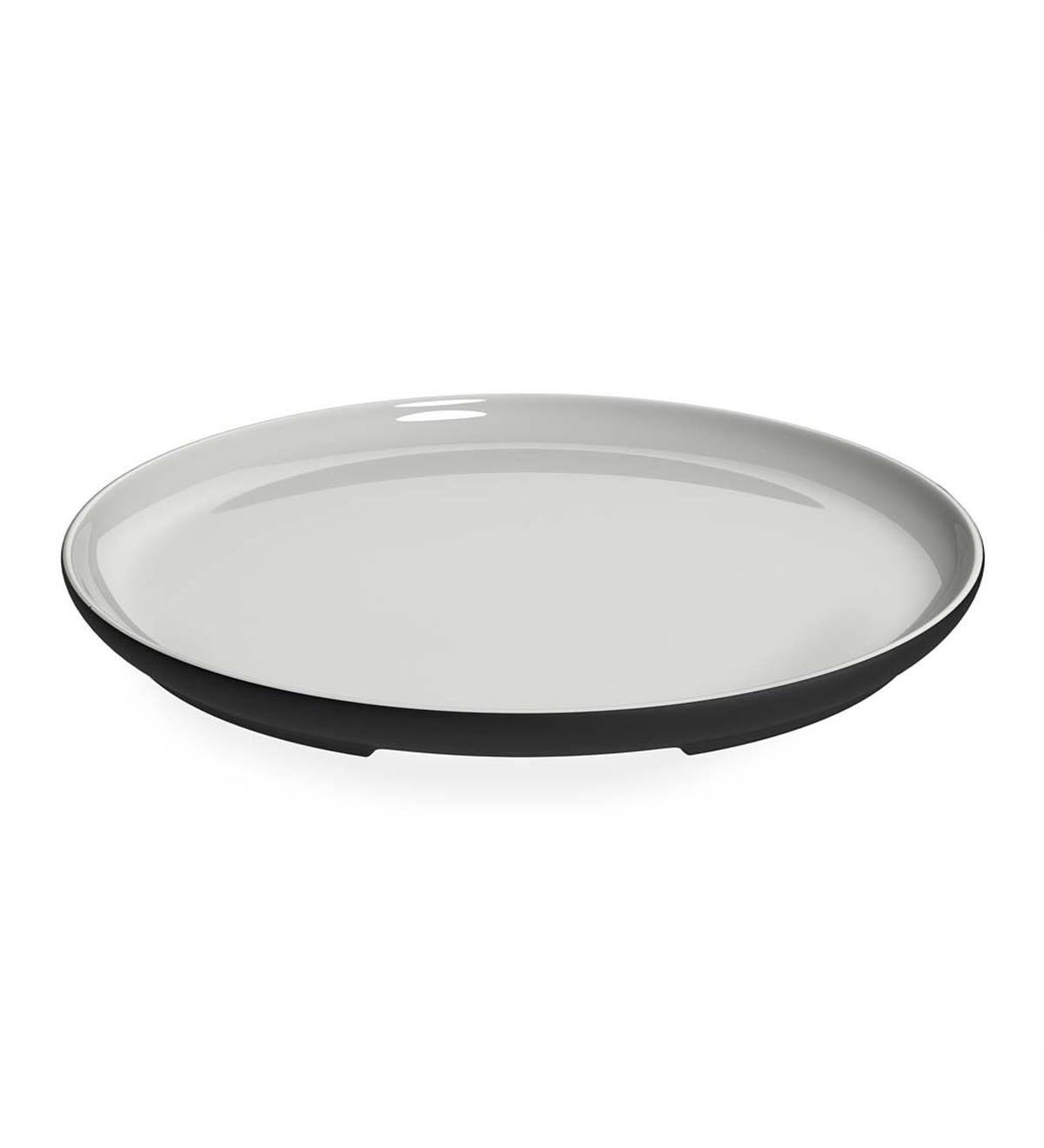 Naturally Cooling White Line Ceramic Large Round Serving Plate