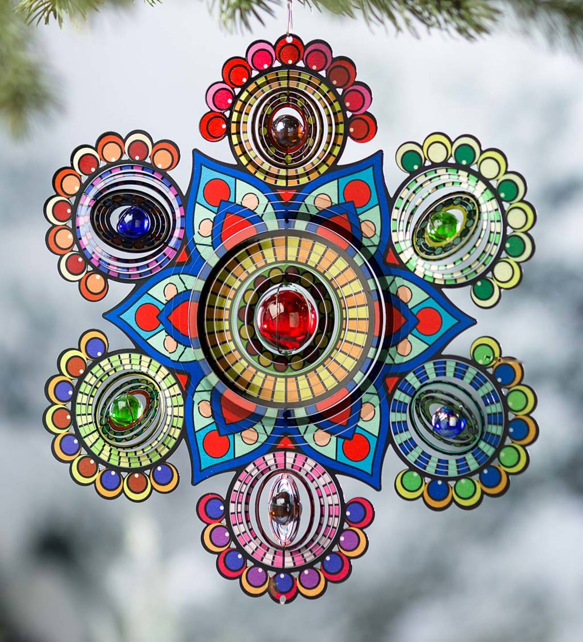 Multi-Colored Glass Beaded Metal Spinner