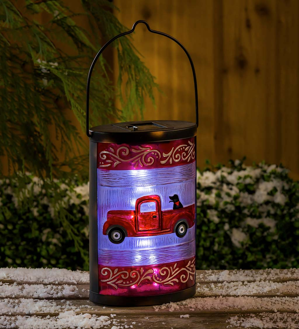 Hand Painted Antique Truck Solar Glass Lantern